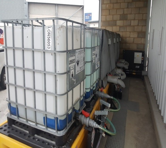 Chemical IBCs connected to automatic control system